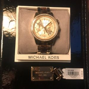 Michael Kors gold, diamond & tortoise shell watch